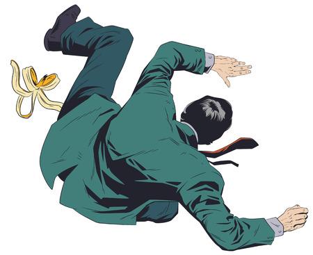 Stock illustration. Man slipping on banana peel. Illustration