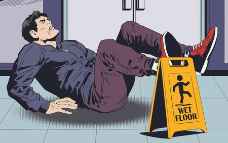 Stock illustration. L'homme tombe sur le sol mouillé. Panneau d'avertissement.