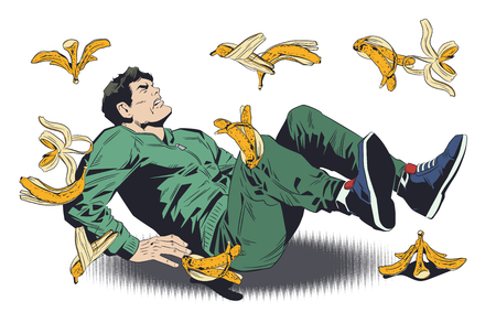 Stock illustration. Man slipping on banana peel. Ilustração
