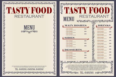 Ilustración de stock vectorial. Plantilla de menú de cafetería o restaurante. Ilustración de vector