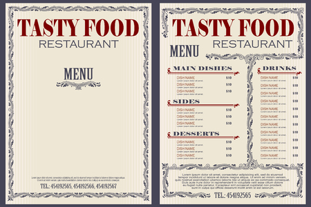 Vector voorraad illustratie. Sjabloon café of restaurant menu. Vector Illustratie