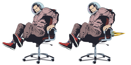 Stock illustration. Man dressed as an astronaut on office chair.