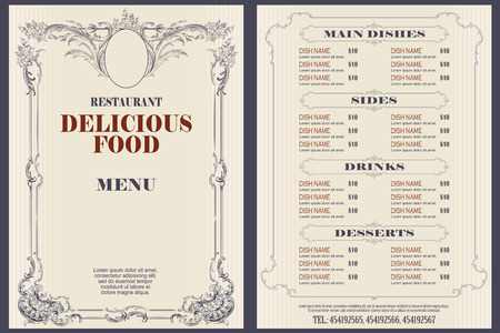 Illustrazione di riserva di vettore. Menu modello bar o ristorante.