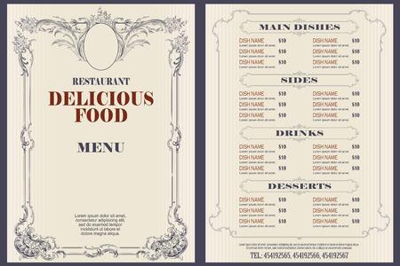 Ilustración de stock vectorial. Plantilla de menú de cafetería o restaurante.