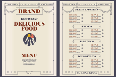 Vektorgrafik auf Lager. Vorlage für Café- oder Restaurantmenüs.