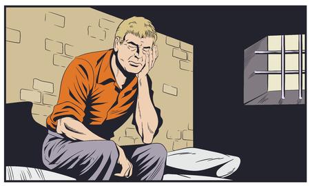 Stock illustration. Male in jail. Man is behind prison lattice.