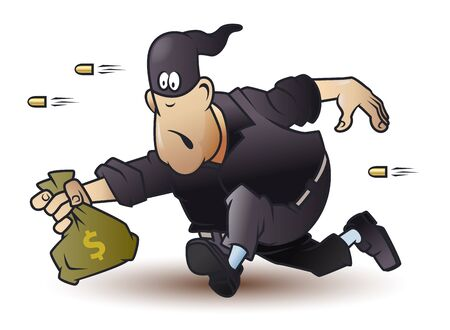 Vector. Stock illustration. Funny little men. Robber runs away with bag money. 일러스트