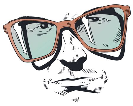 Stock illustration. Portrait of man with glasses.