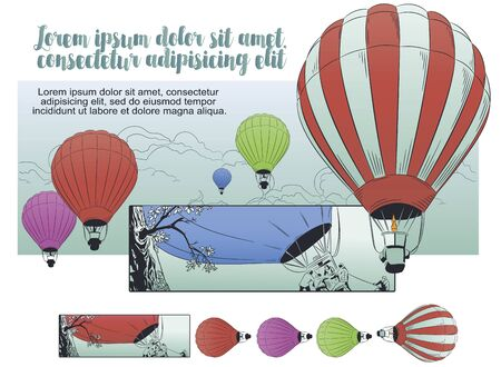 Vector. Stock illustration. Flying hot air balloon.