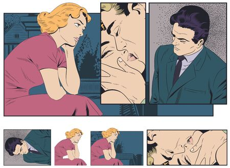 Vector. Stock illustration. Girl misses her boyfriend. Sad young woman. Couple kiss.
