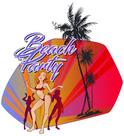 Vector. Stock illustration. Young girls dancing on sandy beach under palm trees.