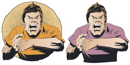 Stock illustration. Angry guy wants to fight.