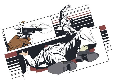 Vector. Stock illustration. Murder of man. Enhance criminal situation. Иллюстрация