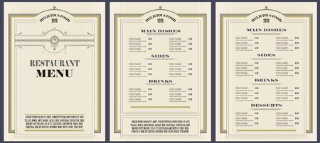 Vector stock illustration. Restaurant menu template or other design.