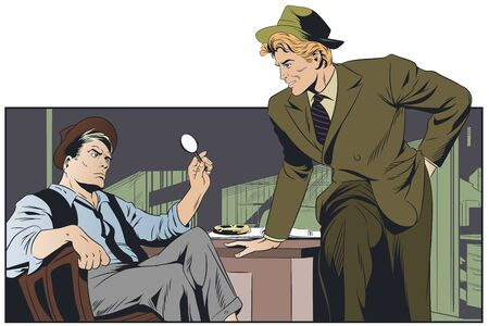 Stock illustration. Talking retro detectives.