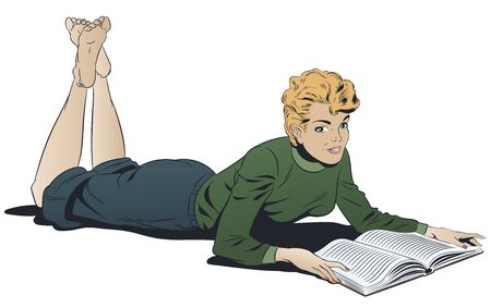Stock illustration. Girl reading a book. Иллюстрация