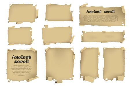 Stock illustration. Old parchment scroll set.