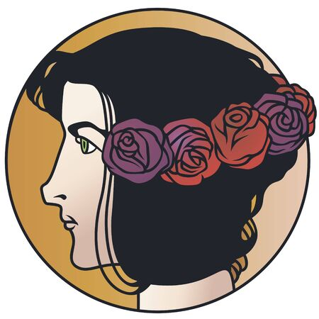 Stock illustration. Portrait girl with roses in hair.