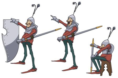 Stock illustration. Knight in armor in various poses.