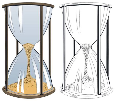 Stock illustration. Hourglass isolated on white background. Иллюстрация