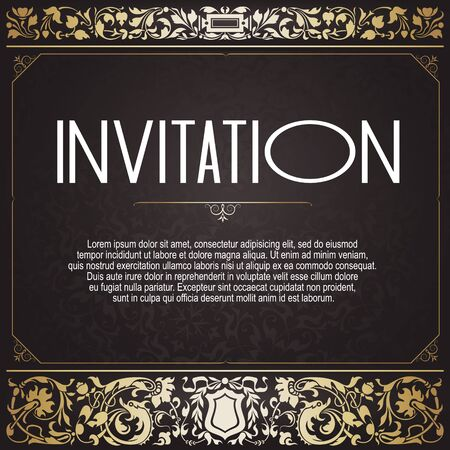 Abstract background with antique vintage frame, victorian banner,  invitation card, baroque style booklet, template for design. Wedding invitation. 版權商用圖片 - 131514994
