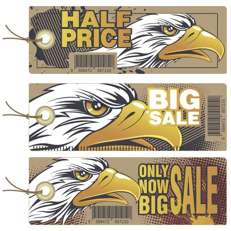 Stock illustration. Sale and Discount tags. American eagle. Иллюстрация