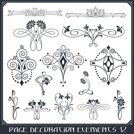 Stock illustration. Vector set of calligraphic design elements and page decor. Иллюстрация