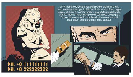 Vector. Stock illustration. Girl calls taxi.
