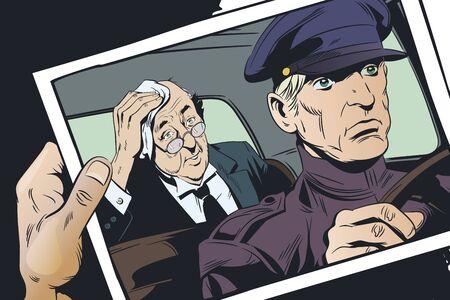 Vector. Stock illustration. Limousine driver and passenger.