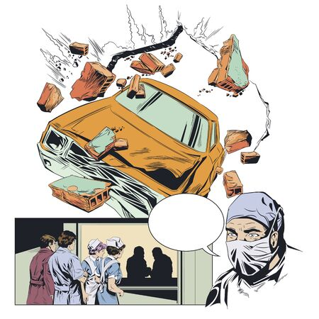 Vector. Stock illustration. Accident. Car breaking wall. Иллюстрация