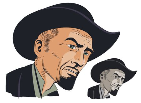 Vector. Stock illustration. Wild West villain.