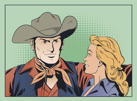 Vector. Stock illustration. Cowboy and girl in love. Banque d'images - 133354801