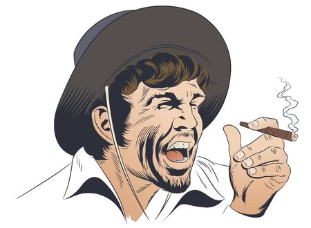Vector. Stock illustration. Western villain. Illustration