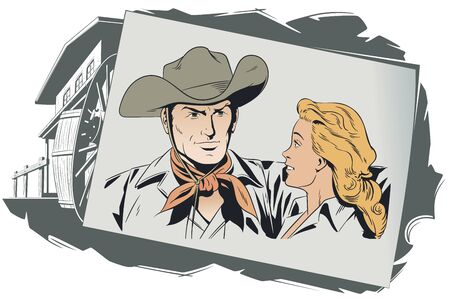 Vector. Stock illustration. Cowboy and girl in love. Banque d'images - 133354808