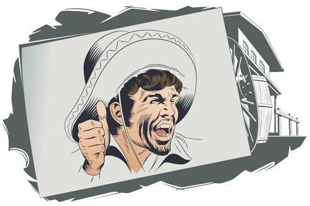 Vector. Stock illustration. Western villain. Ilustração