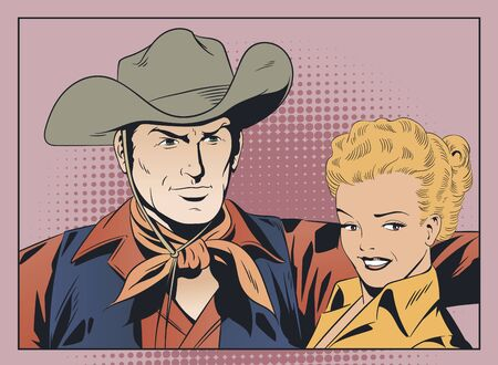 Vector. Stock illustration. Cowboy and embarrassed girl. Banque d'images - 133354814