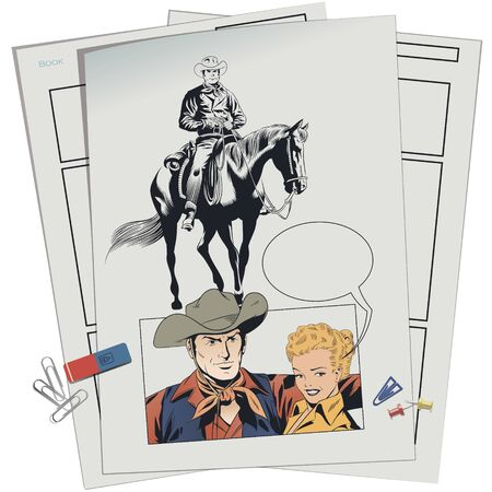 Vector. Stock illustration. Cowboy and embarrassed girl. Banque d'images - 133354815