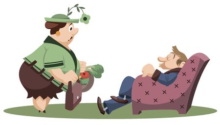 Vector. Stock illustration. Funny little people. Woman with bags and sleeping man.
