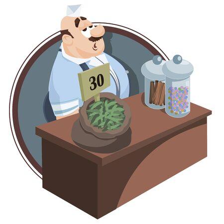 Vector. Ilustración de stock. Gente pequeña divertida. Vendedor detrás del mostrador. Vendedor en la tienda. Ilustración de vector