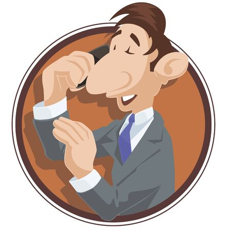 Vector. Stock illustration. Funny little people. Man is talking on phone. Ilustração