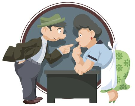 Vector. Stock illustration. Funny little people. Man talking to surprised woman.