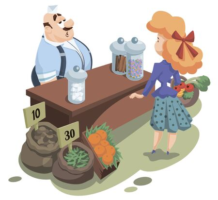 Vector. Stock illustration. Funny little people. Salesman behind counter. Seller and buyer at store.