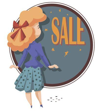 Vector. Stock illustration. Funny little people. Girl on sale shopping. Ilustração