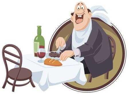 Vector. Stock illustration. Funny little people. Happy man eats. Ilustração