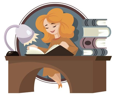 Vector. Stock illustration. Funny little people. Girl in library. Woman reading book. Ilustração