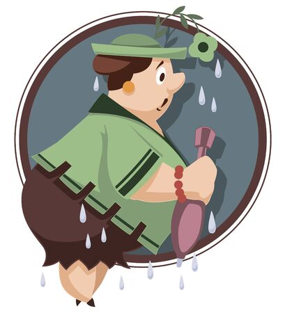 Vector. Stock illustration. Funny little people. Wet woman with an umbrella.