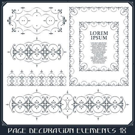 Stock illustration. Vector set of calligraphic design elements and page decor. Ilustração
