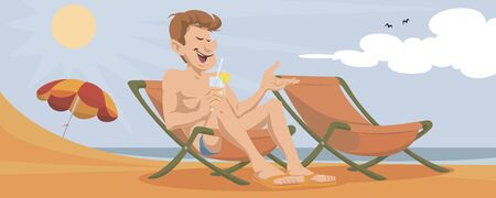 Vector. Stock illustration. Funny people. Man in deck chair.
