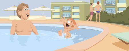 Vector. Stock illustration. Funny people around pool. Ilustração