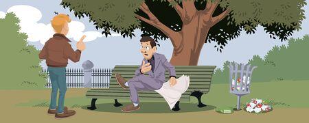 Vector. Stock illustration. Funny people. Talking mans in park.